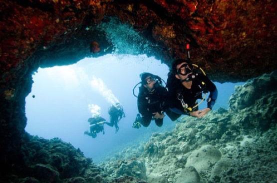 Entering the cave - Scuba Diving
