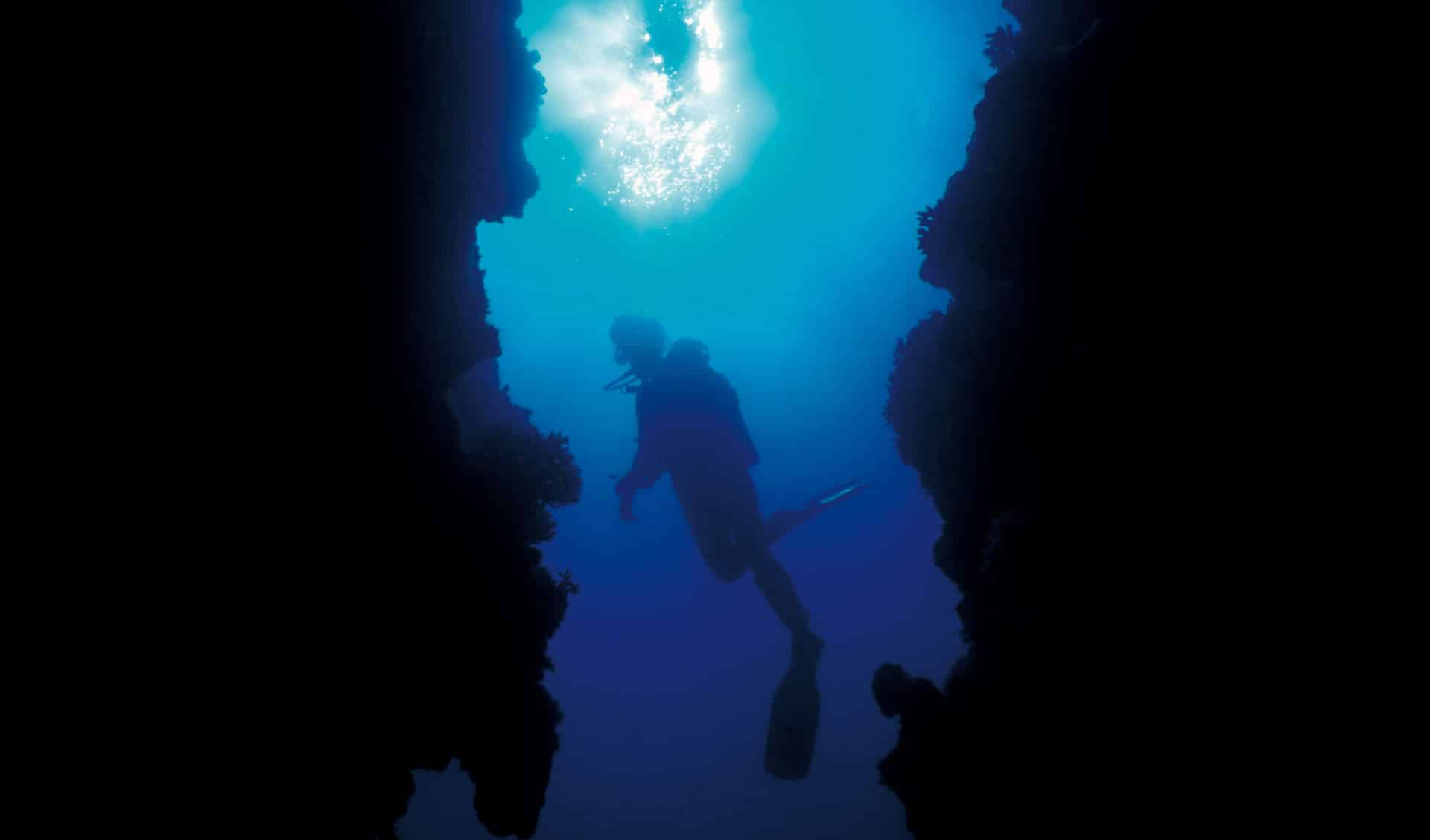 Silhoute diver on the reef - Scuba Diving